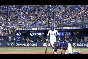 9回裏、柴田選手がライト前タイムリーヒット!