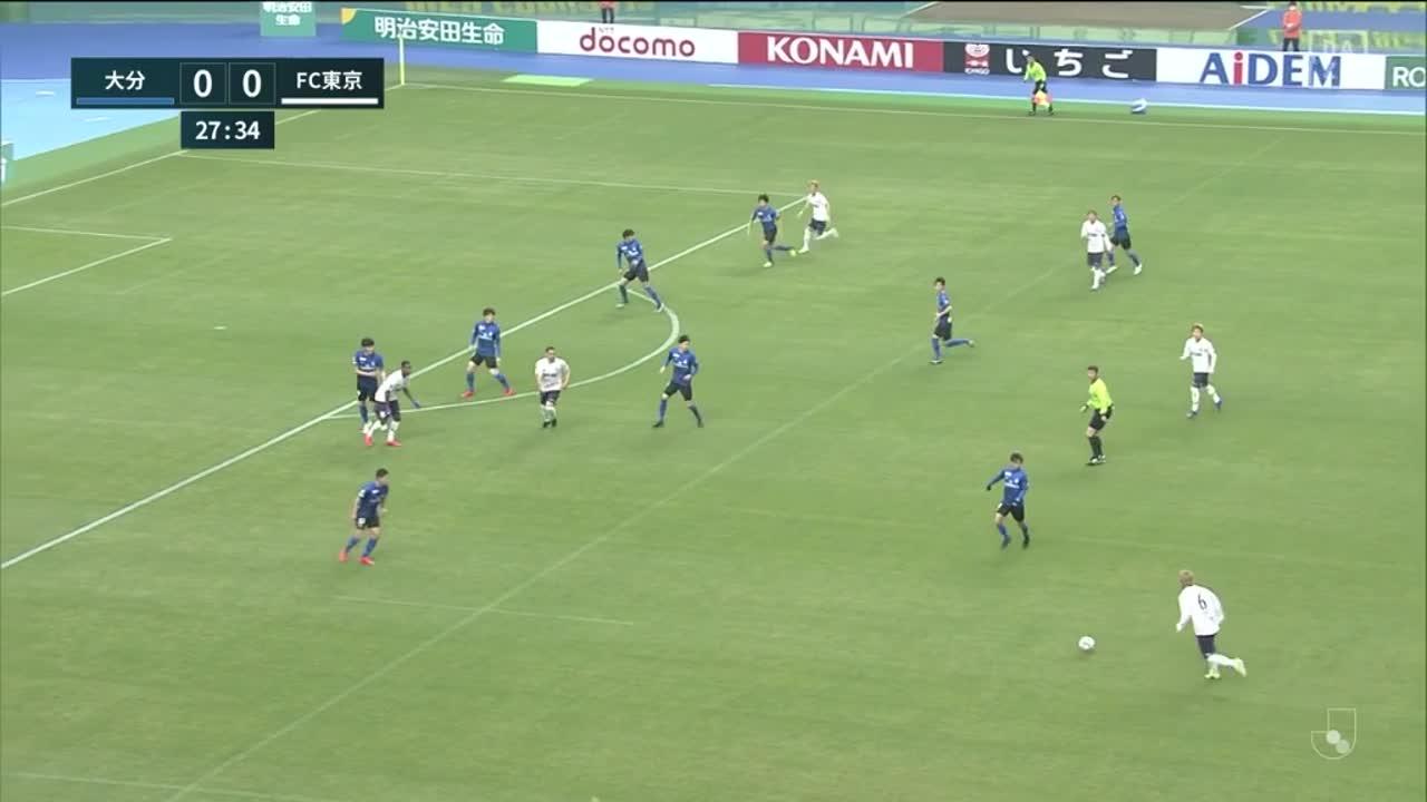 FC東京、見事な崩しから渡邊凌磨がヘディングで決めて先制!【第4節】大分 vs FC東京