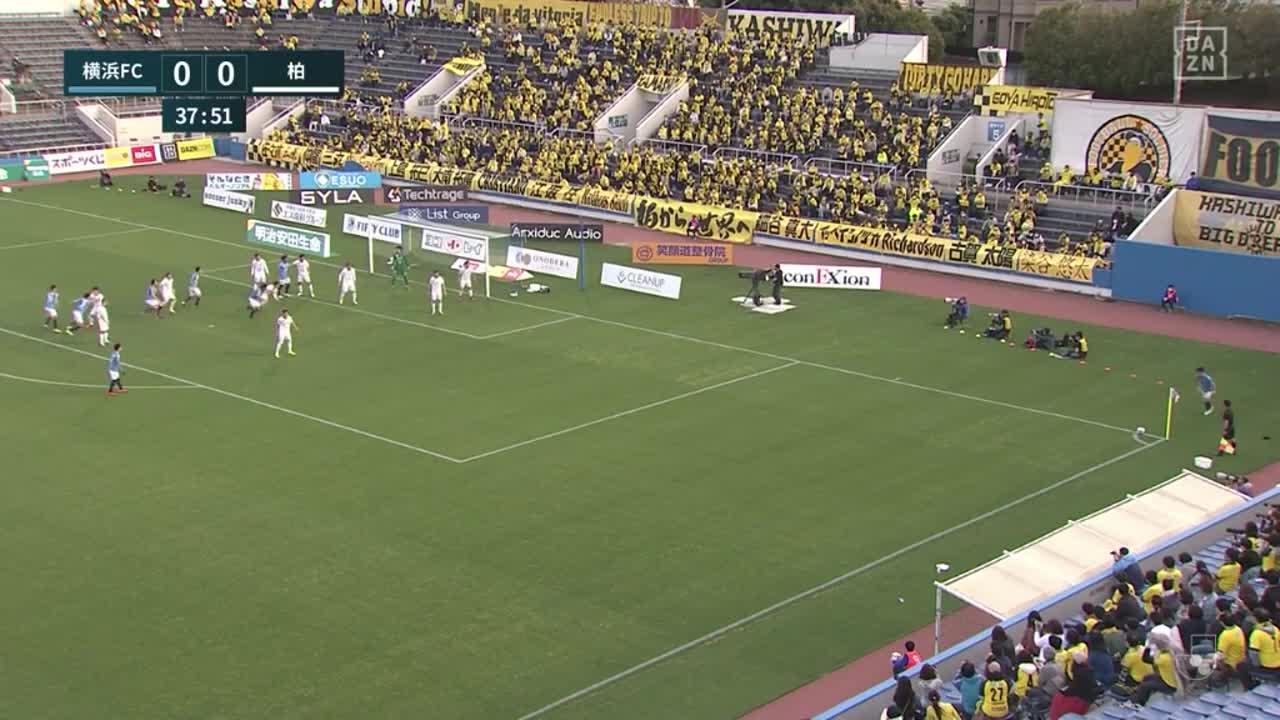 横浜FC、セットプレーから田代真一がゴール前で押し込み先制点を挙げる!【第7節】横浜FC vs 柏