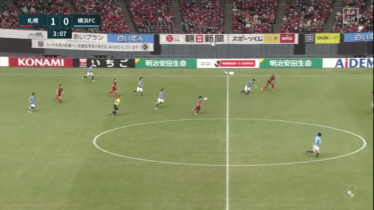 札幌、金子拓郎が左足で追加点!【第1節】札幌 vs 横浜FC