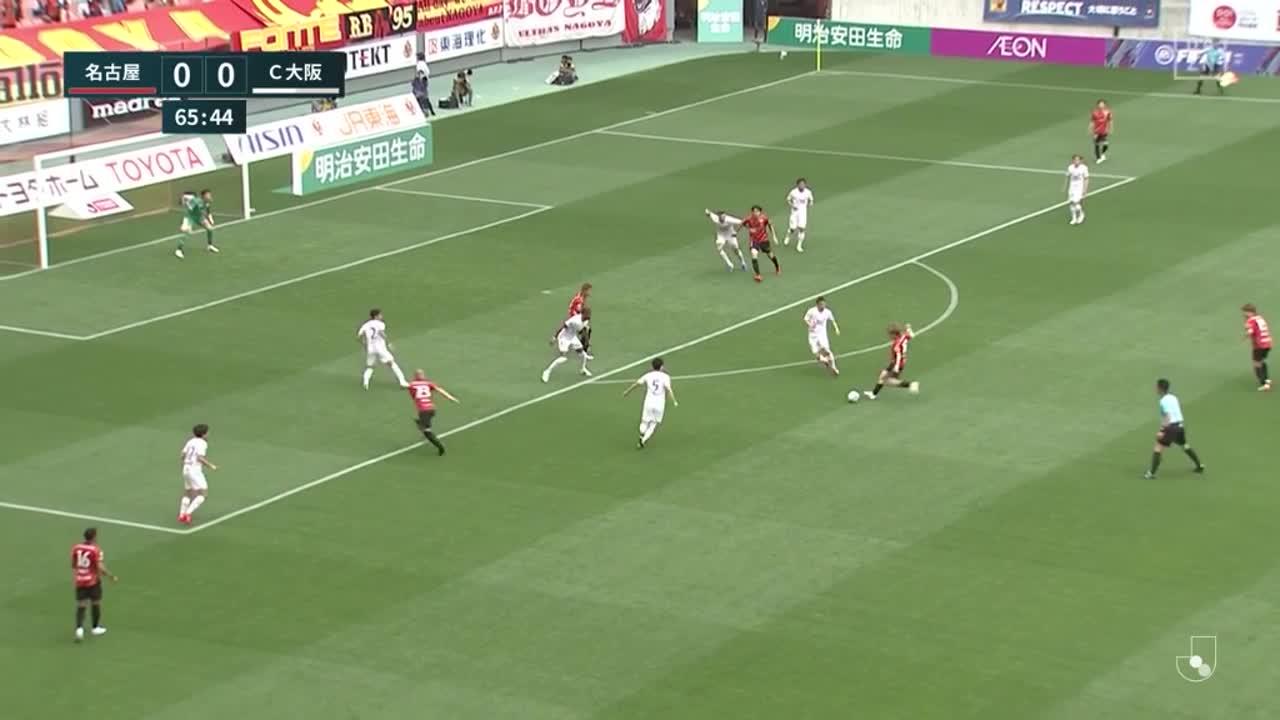 名古屋、こぼれ球に反応した吉田豊がゴール左隅に押し込み先制点を挙げる!【第13節】名古屋 vs C大阪