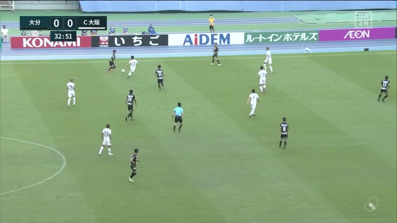 大分、折返しクロスに反応した町田也真人がダイレクトでゴールに押し込み先制点を挙げる!【第31節】大分 vs C大阪