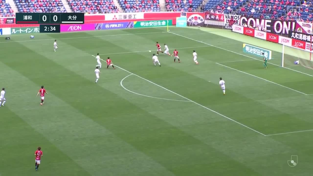 浦和、前線に走りこんだ西大伍が右足でボレーシュートを決めて先制!【第11節】浦和 vs 大分