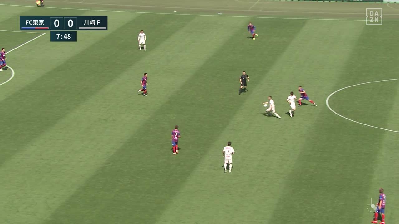 川崎F、レアンドロ ダミアンの浮き球パスに家長昭博がヘディングで合わせて先制!【第9節】FC東京 vs 川崎F