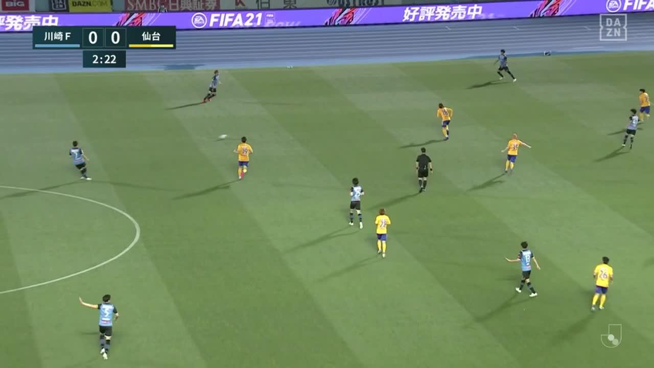 川崎F・小林悠、打点の高いヘディングシュートでネットを揺らし先制!【第20節】川崎F vs 仙台
