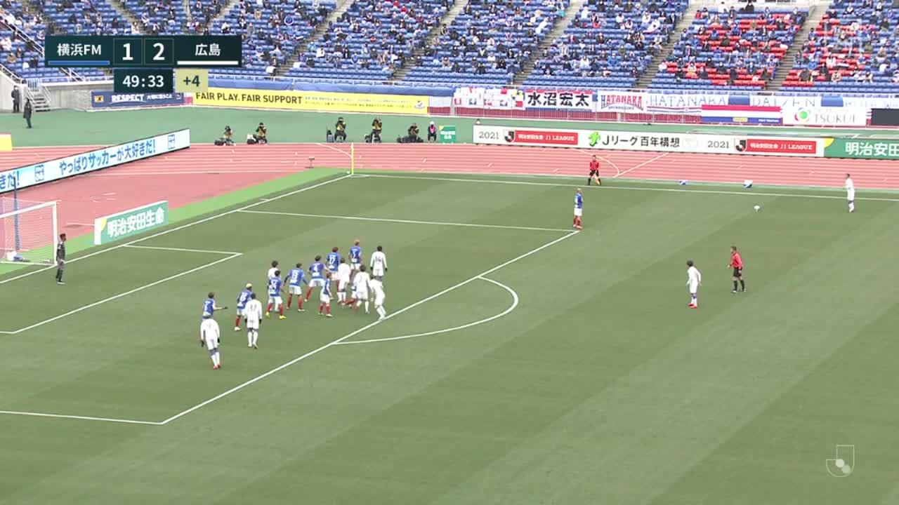 横浜FM、松原健がVARでハンドと判定される【第2節】横浜FM vs 広島