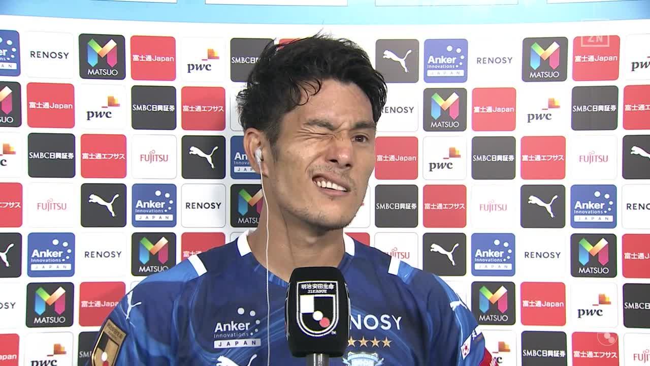 川崎F、決勝点となる逆転ゴールを決めた知念慶の試合後インタビュー【第30節】川崎F vs 湘南