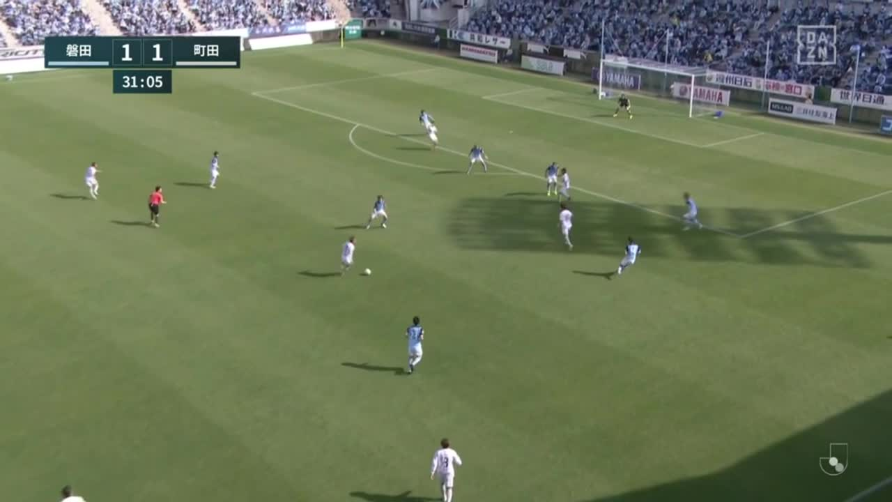 町田、右からのクロスを平戸太貴がヘディングでゴール左隅に決める!【第2節】磐田 vs 町田