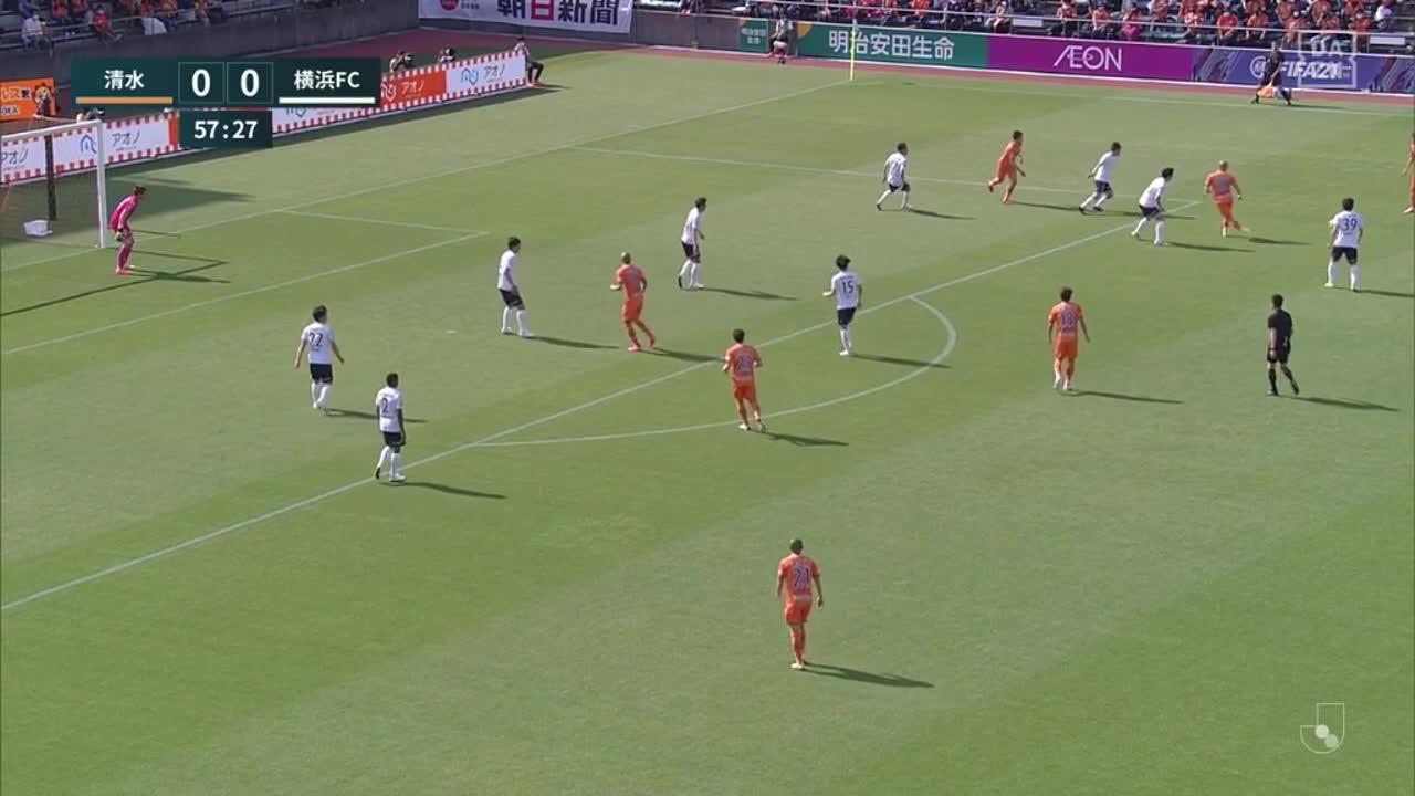 清水、奥井諒のシュートをチアゴ サンタナがゴール前で押し込み先制点を挙げる!【第13節】清水 vs 横浜FC