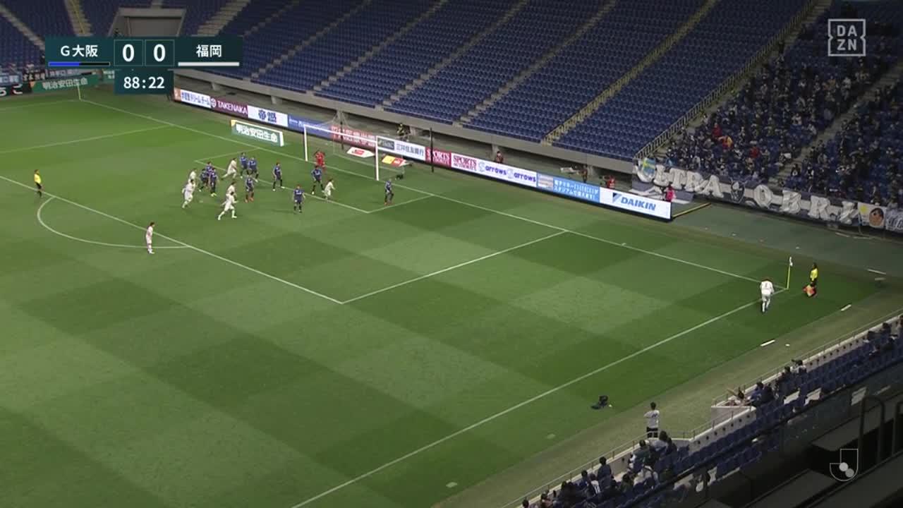 G大阪、カウンターで相手ゴール前まで迫るもシュートは打てず【第8節】G大阪 vs 福岡