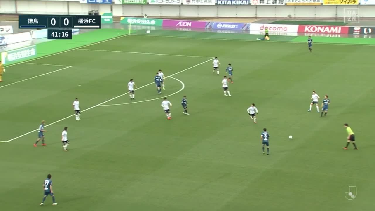 徳島、岸本武流の右クロスからオウンゴールを誘発して先制点を獲得!【第6節】徳島 vs 横浜FC