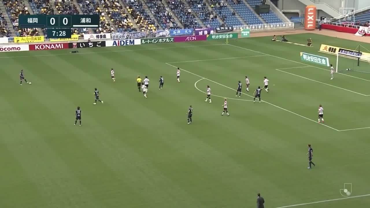 福岡・ブルーノ メンデス、相手GKがこぼしたボールを流し込み先制点を挙げる!【第12節】福岡 vs 浦和