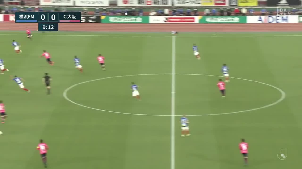 C大阪、松田力が放ったシュートのこぼれ球を豊川雄太が押し込むもオフサイドの判定【第8節】横浜FM vs C大阪