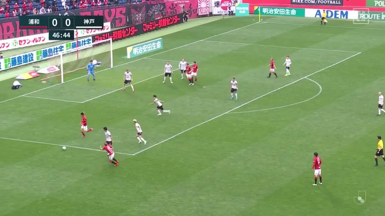 浦和、汰木康也のクロスに田中達也がヘディングで合わせて先制ゴール!【第15節】浦和 vs 神戸