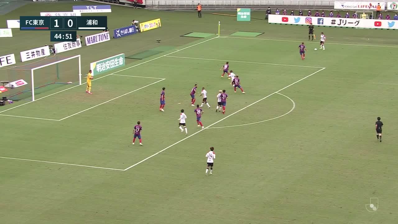 浦和、平野佑一のスルーパスを受けた酒井宏樹がゴール左隅に決め同点に追いつく!【第30節】FC東京 vs 浦和