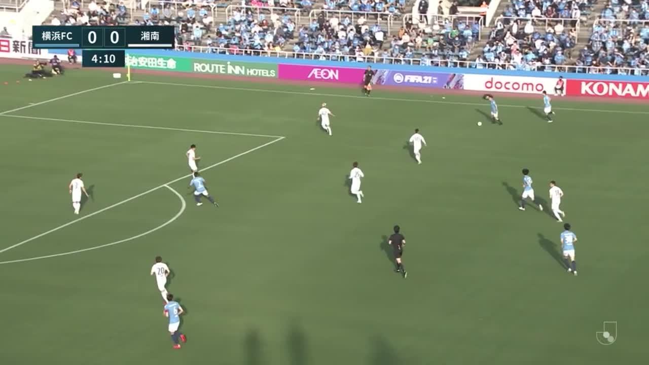 横浜FC、こぼれ球に反応した前嶋洋太がミドルシュートをゴールに突き刺し先制点!【第14節】横浜FC vs 湘南