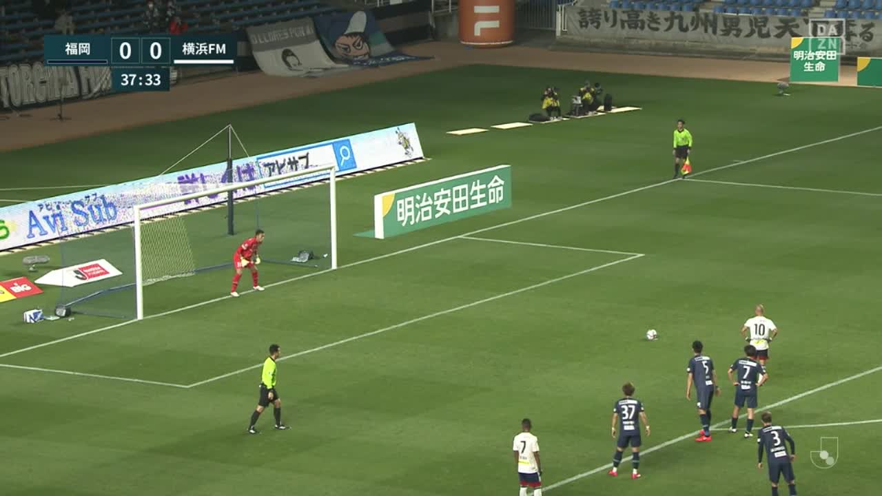 横浜FM、マルコス ジュニオールがPKを冷静に決めて先制!【第3節】福岡 vs 横浜FM