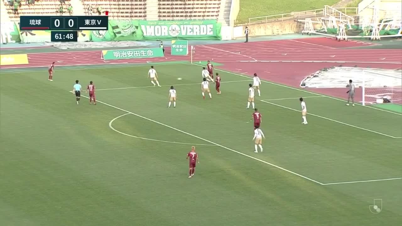 琉球・田中恵太、相手DF陣に囲まれながらも左足を振り抜き先制ゴール!【第8節】琉球 vs 東京V