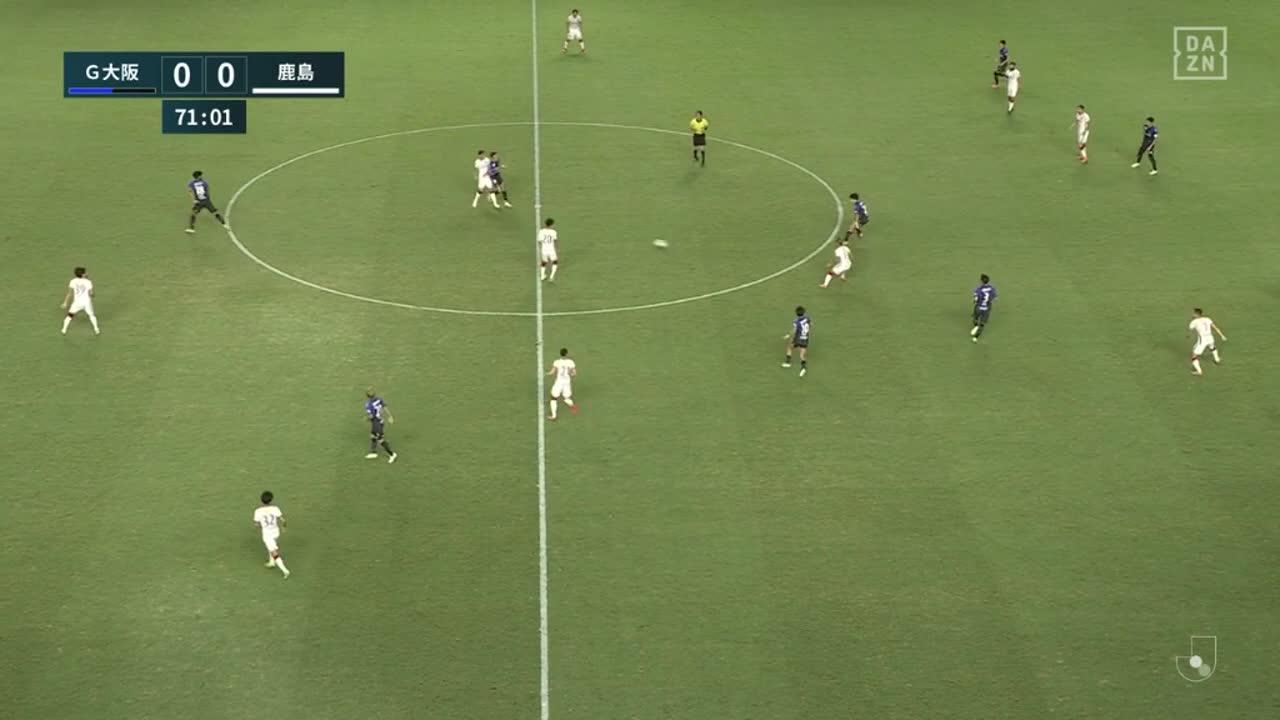 鹿島、前線に走り込んだアルトゥール カイキがスルーパスを受けゴールに流し込み先制!【第2節】G大阪 vs 鹿島