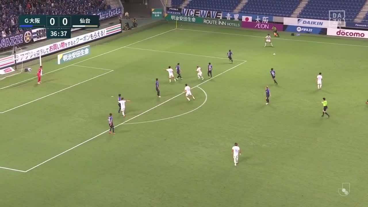仙台、右からのクロスに富樫敬真がヘディングで合わせて先制ゴール!【第28節】G大阪 vs 仙台