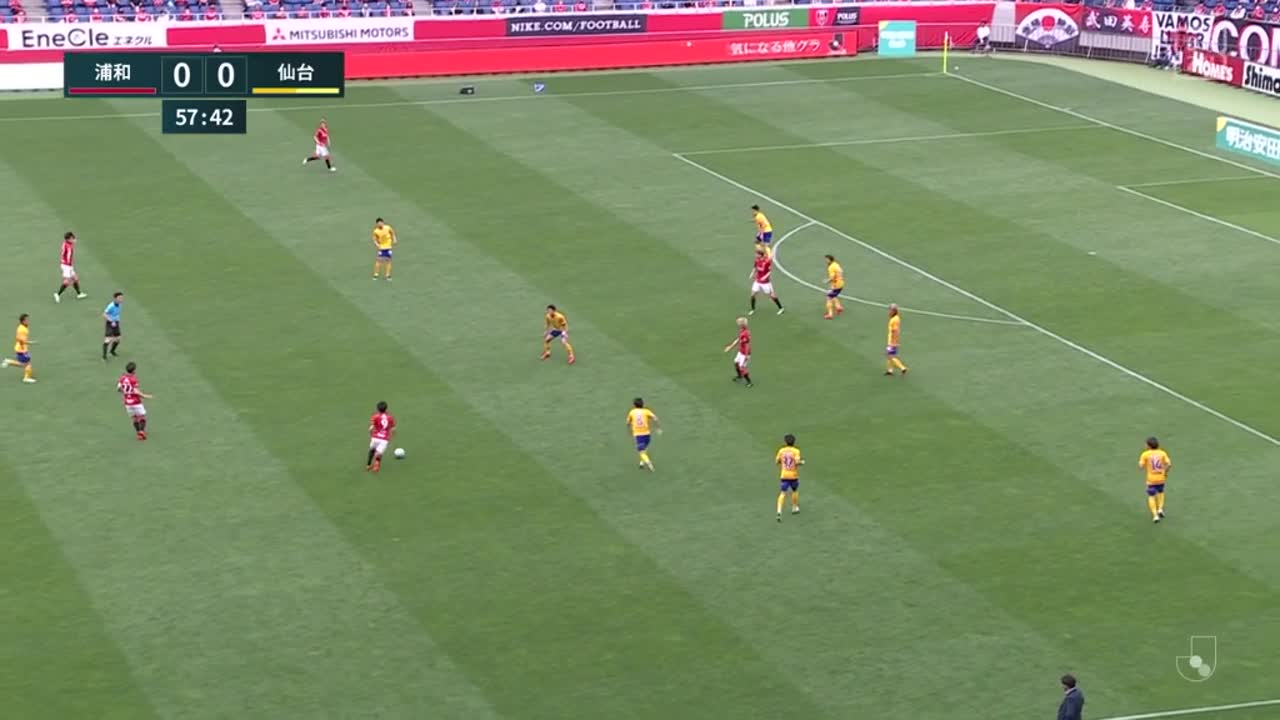 浦和、前線に抜け出したキャスパー ユンカーがゴール左隅に流し込み先制点!【第13節】浦和 vs 仙台