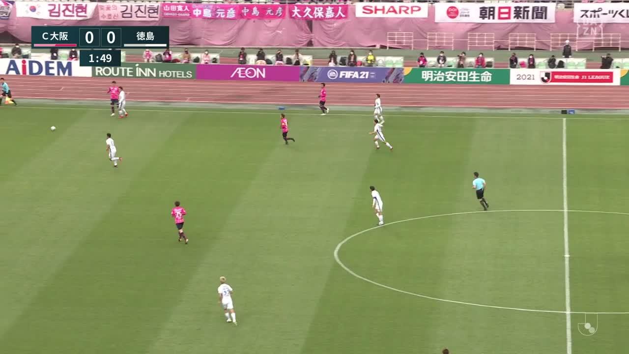 C大阪、豊川雄太が放ったシュートは相手GKの脇を抜けるが惜しくも右のポストに阻まれる【第18節】C大阪 vs 徳島