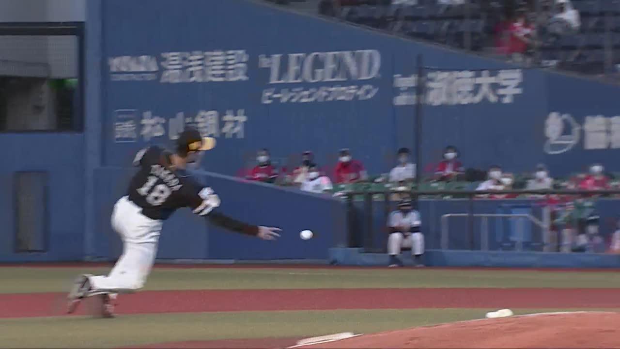 【4回裏】ホークス・武田 転がりながらの好送球で出塁許さず!! 2021/6/24 M-H