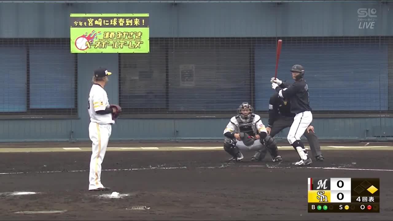 【球春みやざきベースボールゲームズ/ロッテ戦】甲斐キャノンPart.1 変化球でも盗塁阻止!