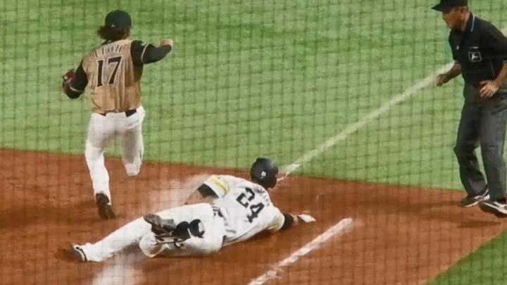 【ベースボールLIVE】長谷川勇也、現役最後の打席で執念ヘッドスライディング<10/21 ソフトバンク vs. 日本ハム>
