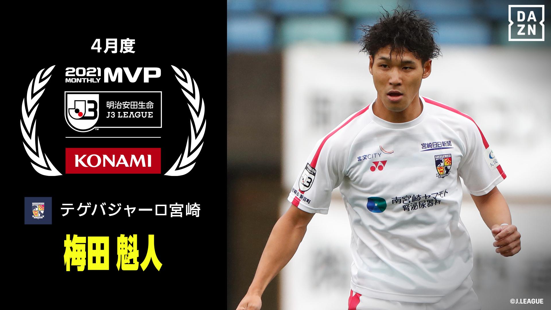 明治安田生命Jリーグ KONAMI月間MVP J3 4月度 梅田 魁人選手(テゲバジャーロ宮崎)