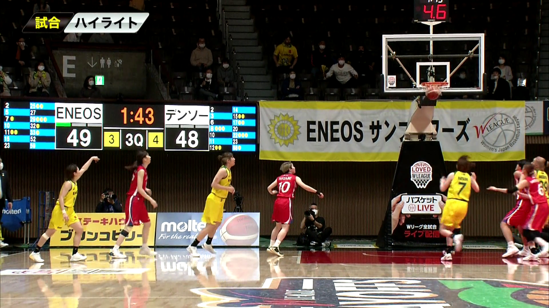 【女子バスケ Wリーグ】3/15 ENEOS vs デンソー(第22回Wリーグプレーオフ SF Game2)
