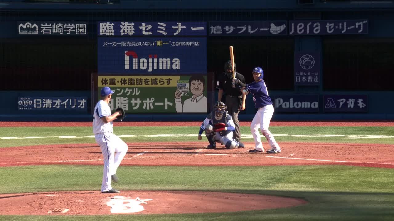 5回表、レフトに飛んだ大きな当たりを佐野選手がナイスキャッチ!