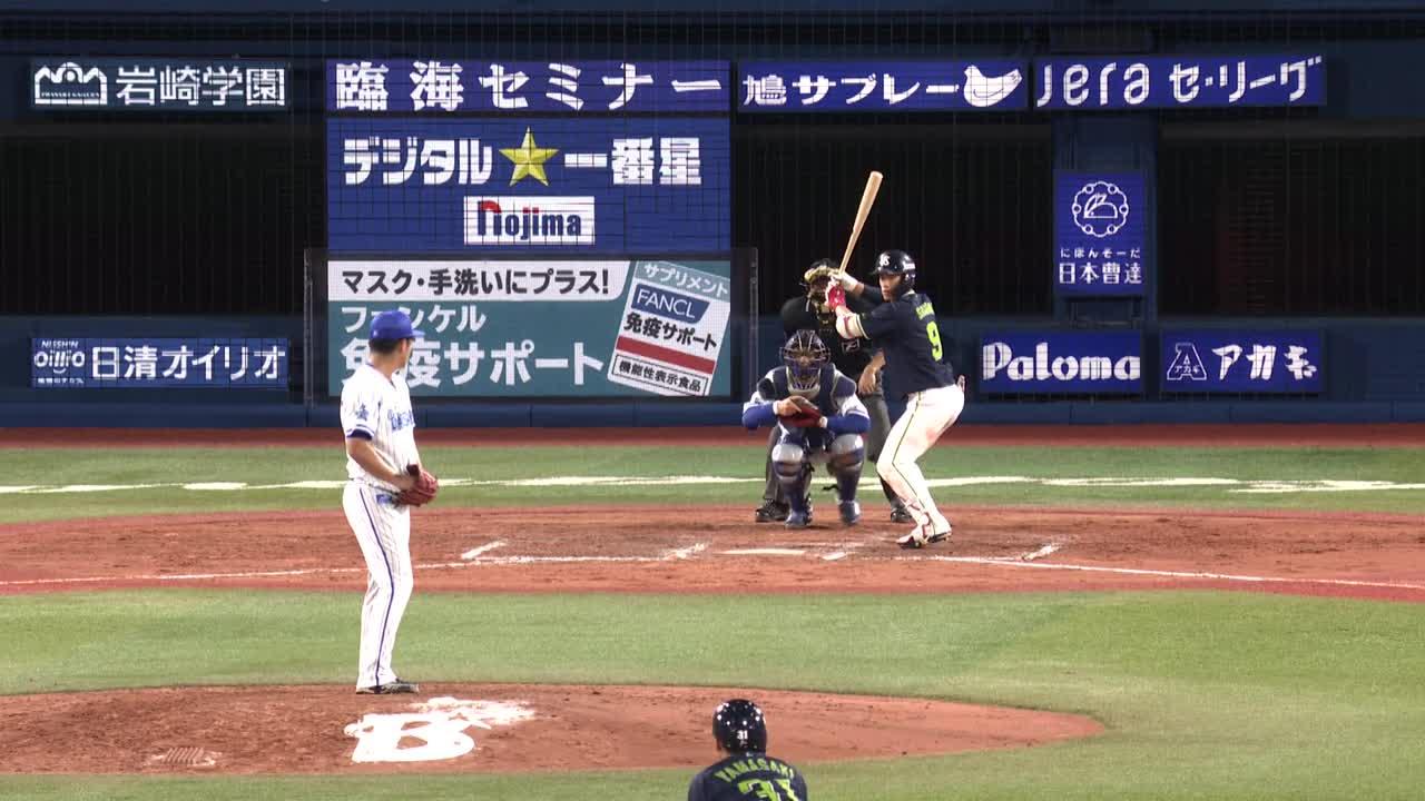 9回表、宮﨑選手が素早いタッチプレーで走者をアウトに!ピンチ拡大を防ぐ!