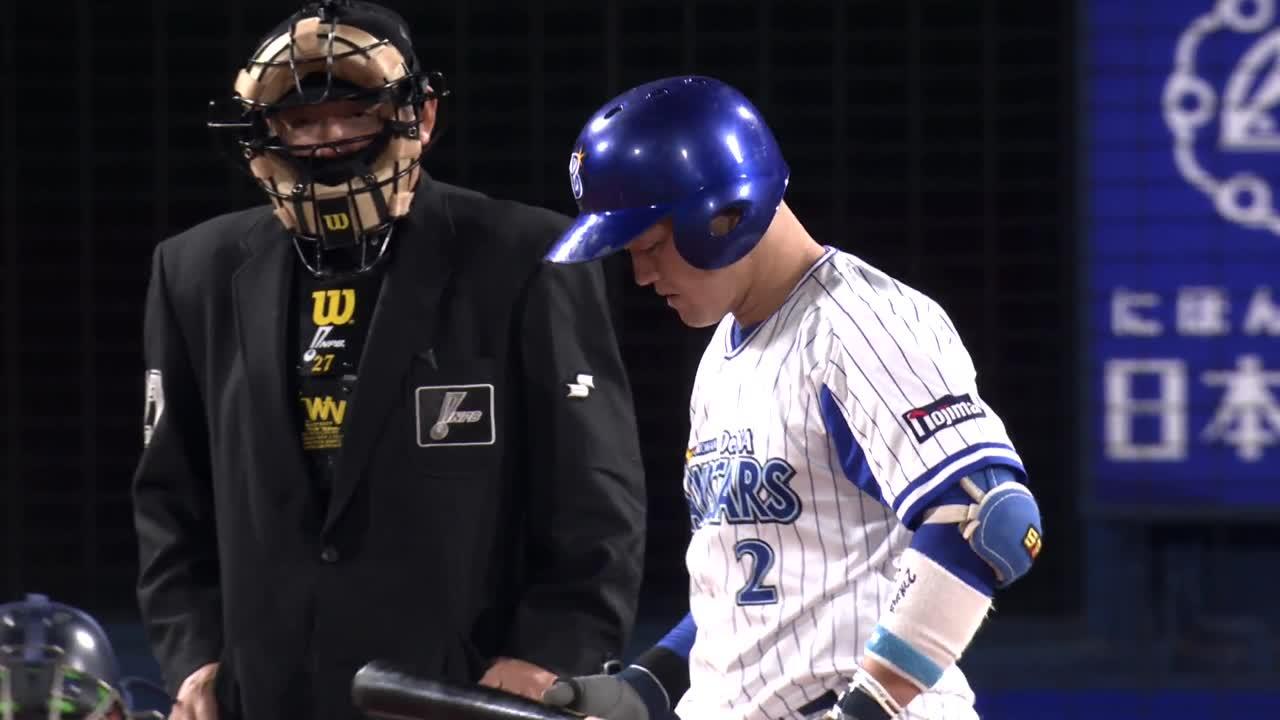 4回裏、牧選手が長嶋茂雄氏に並ぶリーグ二塁打新人記録達成!