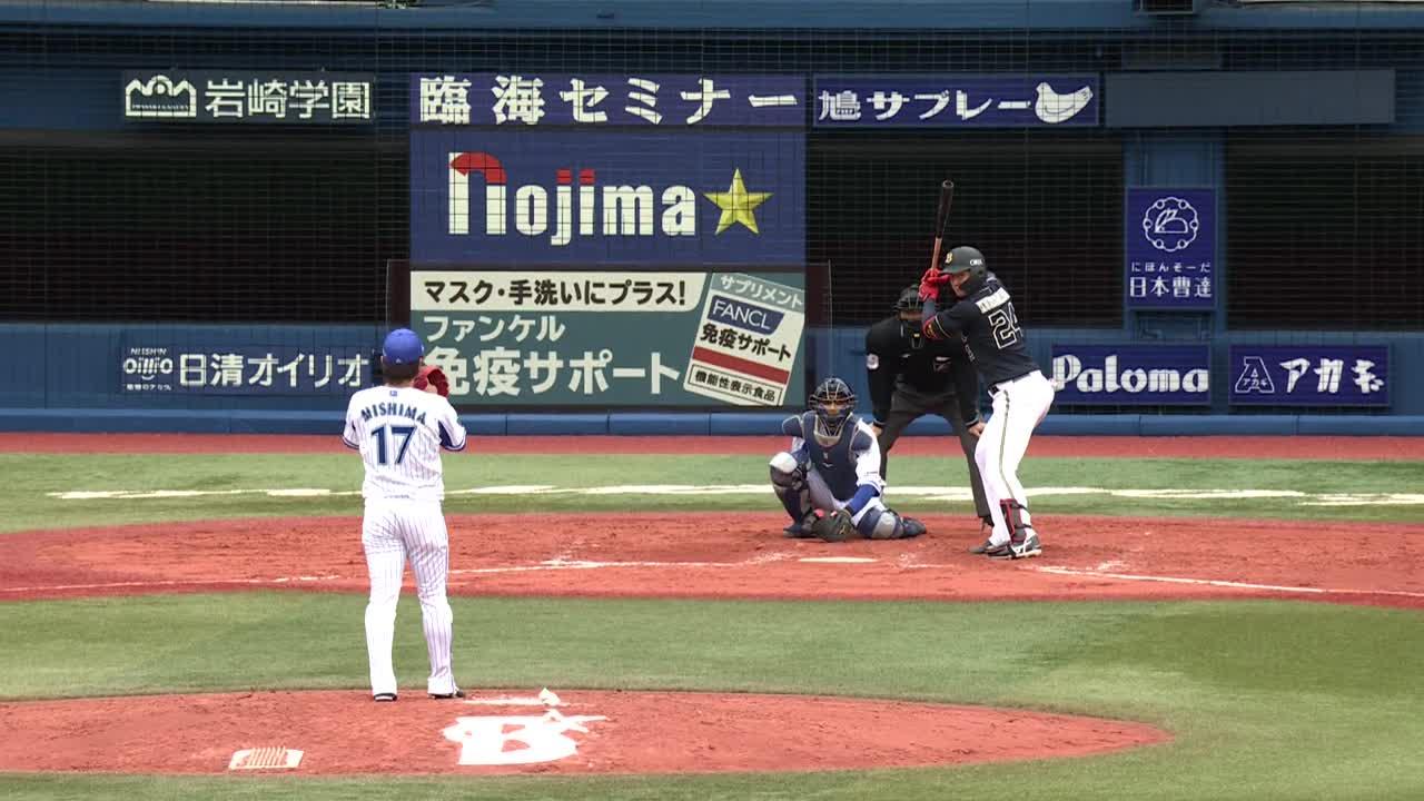 9回表、3番手で登板した三嶋選手が無失点投球を見せる!!