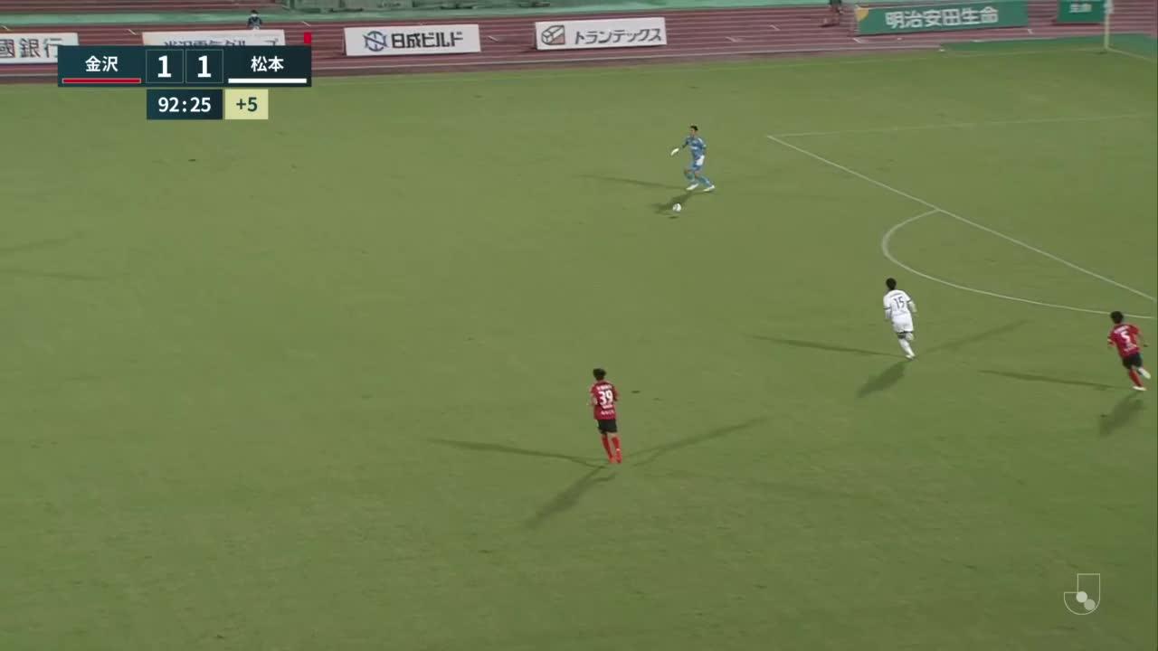 【廣井友信】アディショナルタイム。ヘディングはポスト直撃「ツエーゲン金沢 vs 松本山雅FC」