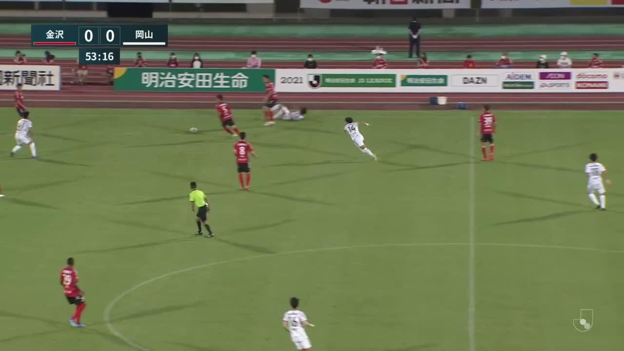 【試合クリップ】嶋田慎太郎が中に切り込んで放ったシュートは僅かに左へ「ツエーゲン金沢vsファジアーノ岡山」