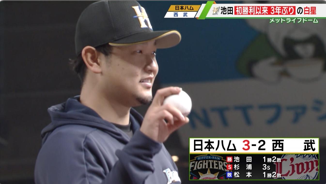 【日本ハム】池田 初勝利以来3年ぶりの白星!<西武×日本ハム>