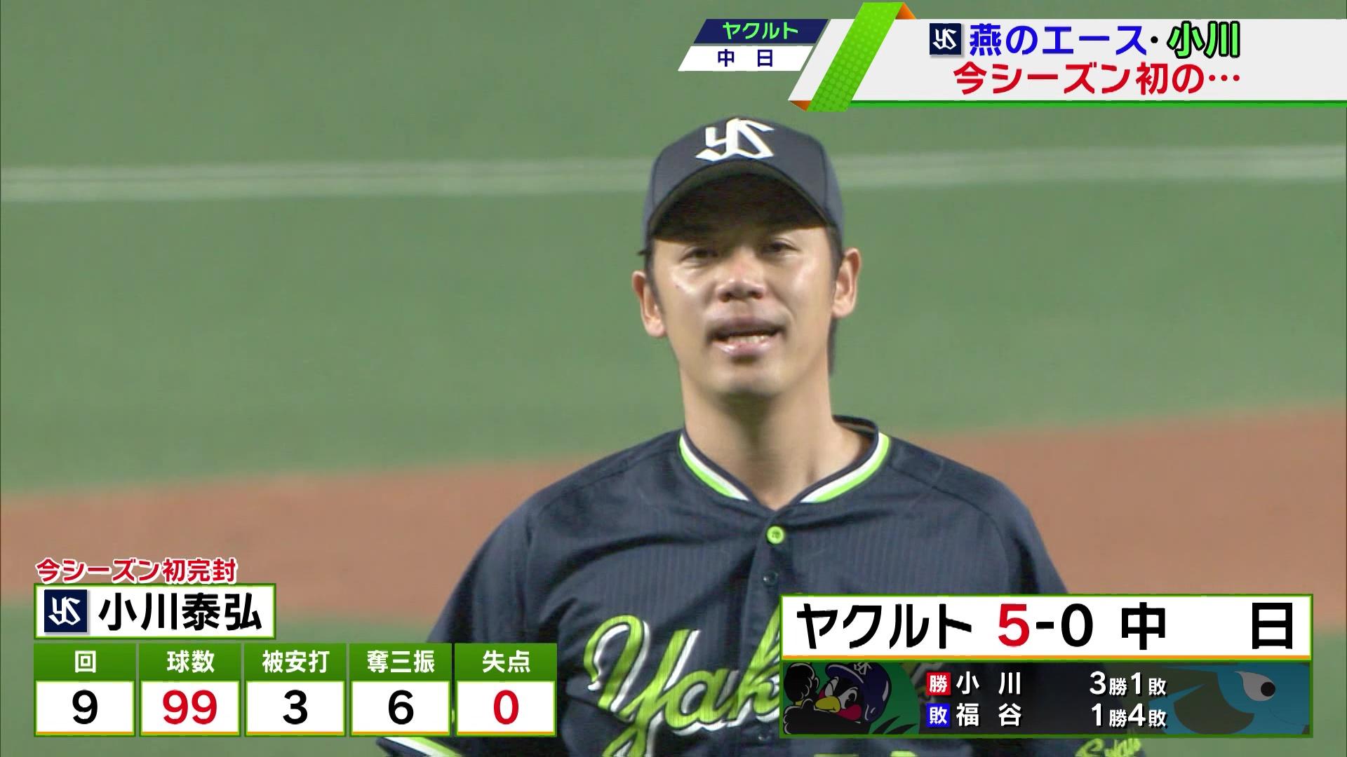【ヤクルト】小川泰弘「99」球の無四球完封勝利!<中日 対 ヤクルト>