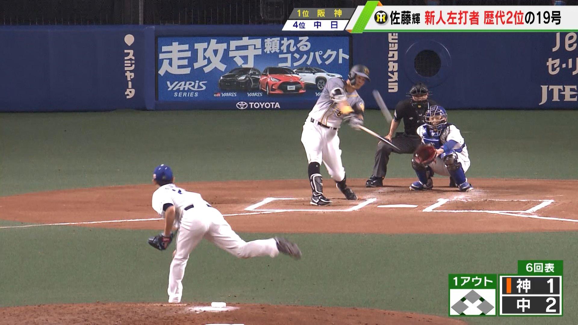 【阪神】佐藤輝明 新人左打者歴代2位の19号<中日 対 阪神>