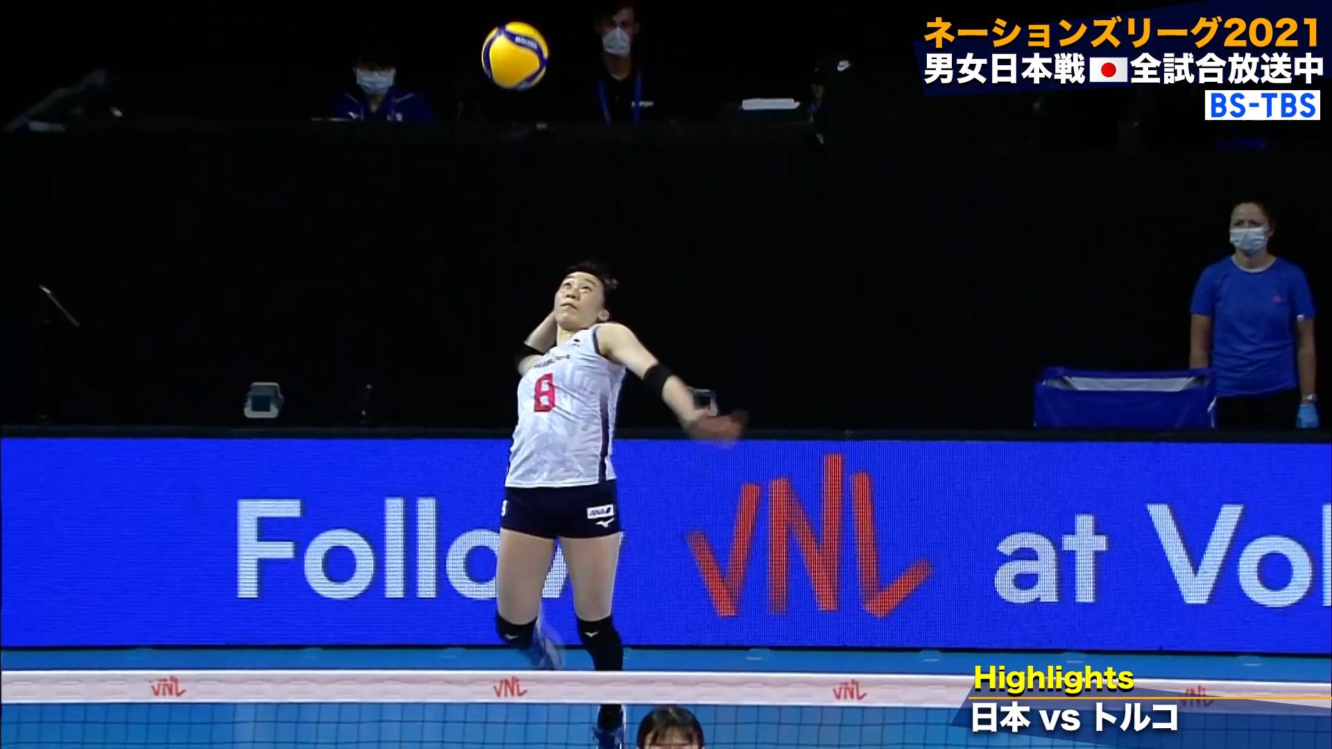 バレーボールネーションズリーグ 女子日本 世界ランク4位のトルコに勝利!8勝目【ハイライト】