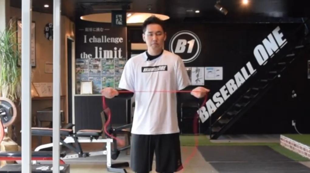 【野球トレーニング】肩周りのチューブトレーニング③両手1st外旋(Sufu)