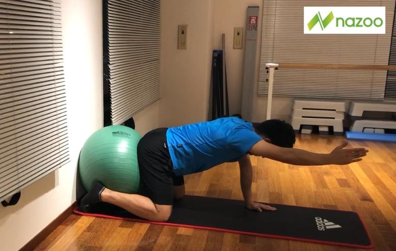 【サッカートレーニング】【コアトレーニング中級】バランスボールプッシュ片手UP(Sufu)